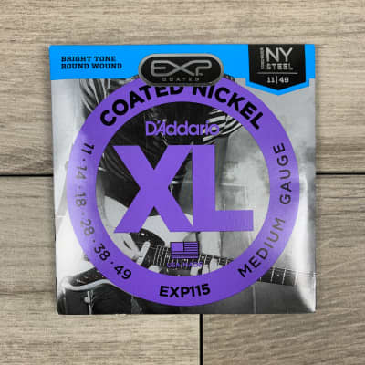 D'Addario EXP115 Coated Nickel Electric Guitar Strings, 11-49, Medium/Blues/Jazz