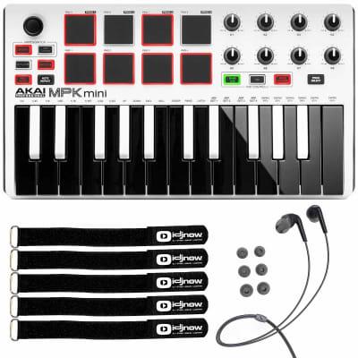 Akai MPK Mini MKII MK2 25-Key USB MIDI Keyboard MPC Pad Controller White Pack