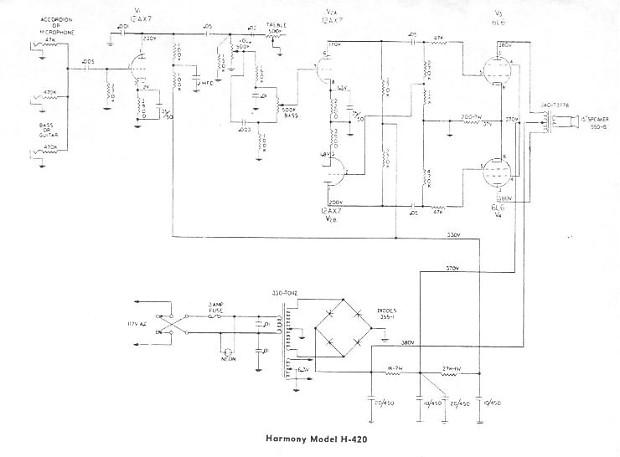 Harmony H420 Amplifier 1960's Black/SIlver on