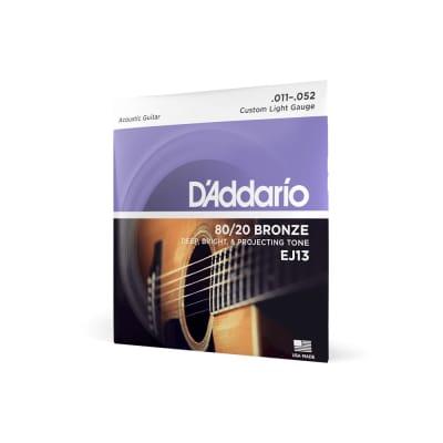 D'Addario EJ13 80/20 Bronze Custom Light Acoustic Guitar Strings, .011-.052