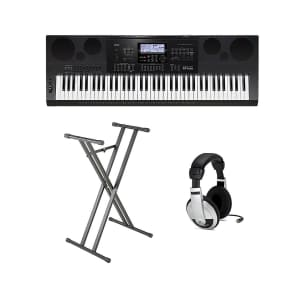 Casio CTK2400-PPK 61-Key Premium Portable Keyboard Package with Samson HP30 Headphones, Stand, Pedal