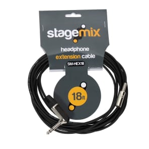 """Elite Core Audio EC-HEX18 1/4"""" TRS Male Right-Angle to 1/8"""" TRS Female Headphone Extension Cable - 18'"""