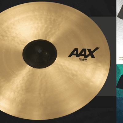 """Sabian AAX 22"""" THIN RIDE Cymbal Natural Finish   Bundle & Save   Made in Canada   Authorized Dealer"""