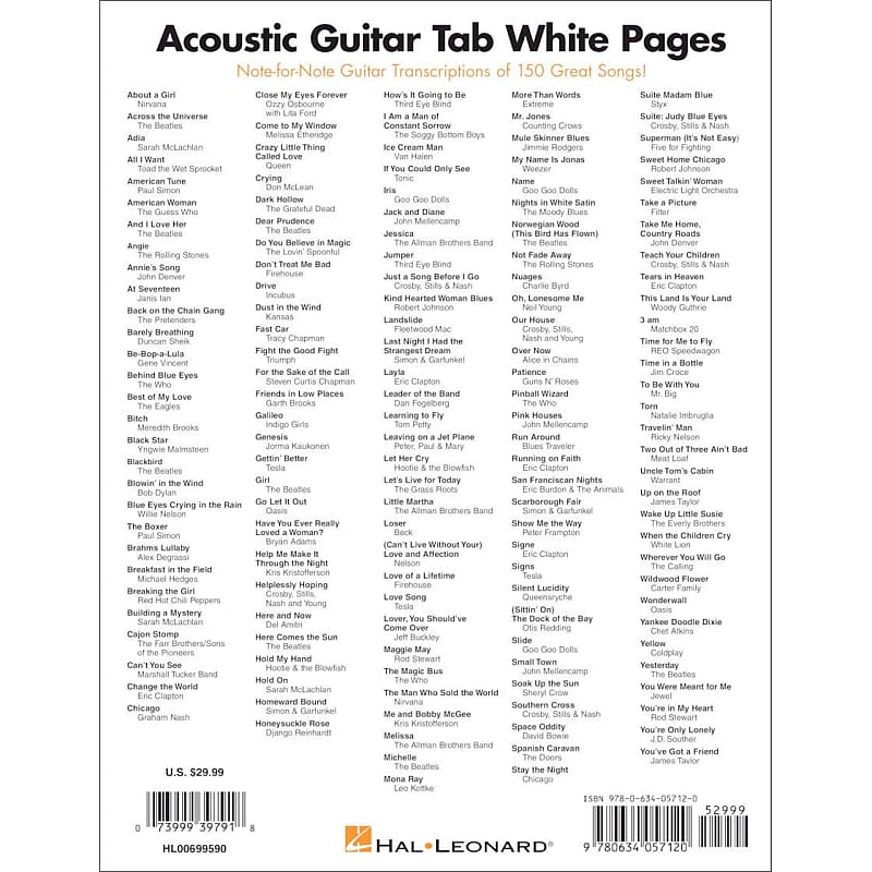 Acoustic Guitar Tab White Pages 150 Acoustic Note For Note Reverb