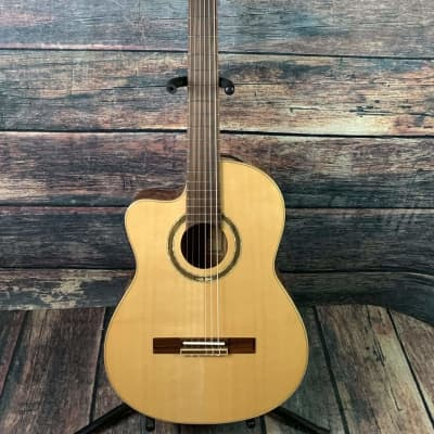 Ortega Left Handed RCE138-L Slim Neck Acoustic Electric Cutaway Classical Guitar- B- Stock for sale