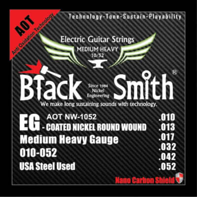 BLACKSMITH Electric 6 String Set, Nano-Carbon Coated Steel - Medium Heavy 010 - 052