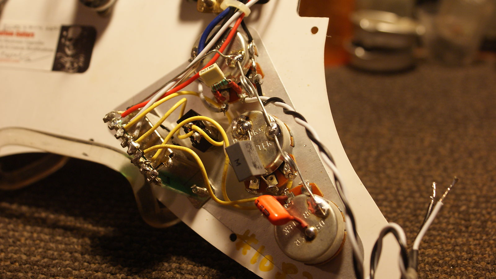 Loaded Strat Hss Pickguard With Gilmour Switch Treble Bleed New Wiring Harness Program Lpgtstb