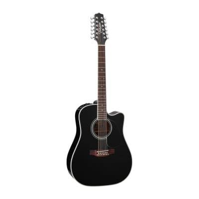 Takamine EF381SC 12-String Dreadnought Acoustic-Electric Guitar in Black