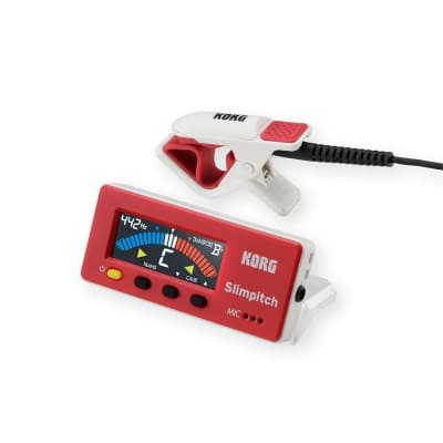 Korg SLM-1CM-RW Slimpitch Tuner and Contact Microphone Red/White