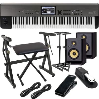 Korg Krome EX 73 – Music Workstation, (2) KRK RP5G4 Monitors, Monitor Stands, Plixio Stand, Bench, Sustain Pedal, Nektar NX-P, (2) 1/4 Cables Bundle
