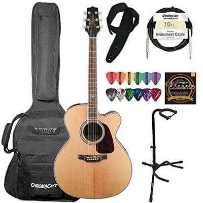 Takamine GJ72CE-NAT Jumbo Cutaway 6-String Acoustic Electric Guitar w/ ChromaCast Suede Strap, 10 ft Pro Series Cable, Strings, Picks & Upright Guitar Stand for sale