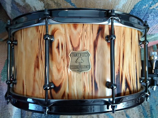 outlaw drums white pine stave snare drum with black chrome reverb. Black Bedroom Furniture Sets. Home Design Ideas