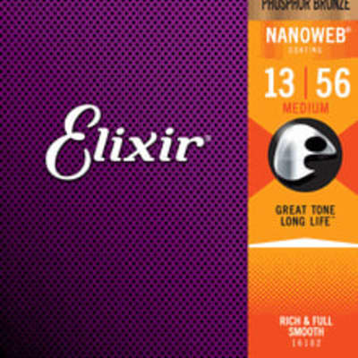 Elixir 16102 Acoustic Guitar Strings Phosphor Bronze With NANOWEB Coating Medium Gauge 13-56 One Set