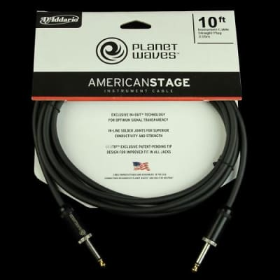 Planet Waves American Stage Instrument Guitar Cable 10 Foot image