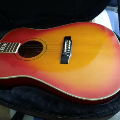 Drifter D-25 Dreadnaught Yellow/Red Sunburst  late 70's early 80's made in Korea for sale