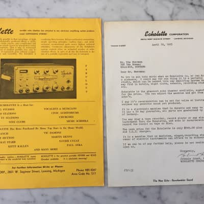1965 Echolette Corporation Flyer And Signed Letter Rare Vintage Case Candy Collector