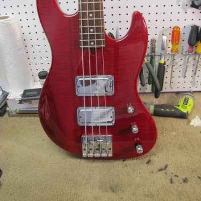 Mike Lull Thunder Jazz Bass 1995 Red over Flame Maple for sale