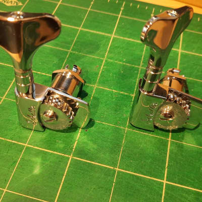 Two (2) In-Line (Left) Schaller M4S Light Chrome Bass Tuners