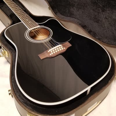 Takamine 12-string Dreadnought Cutaway Ac/elec. Guitar, Solid Spruce Top, Maple Back & Sides, Black, CT4-DX for sale