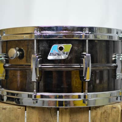 """Ludwig No. 417 Black Beauty 6.5x14"""" Brass Snare Drum with Rounded Blue/Olive Badge 1979 - 1980"""