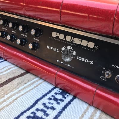 vintage 1960s Plush Tuck and roll Tube amp Red sparkle Royal 1060-S for sale