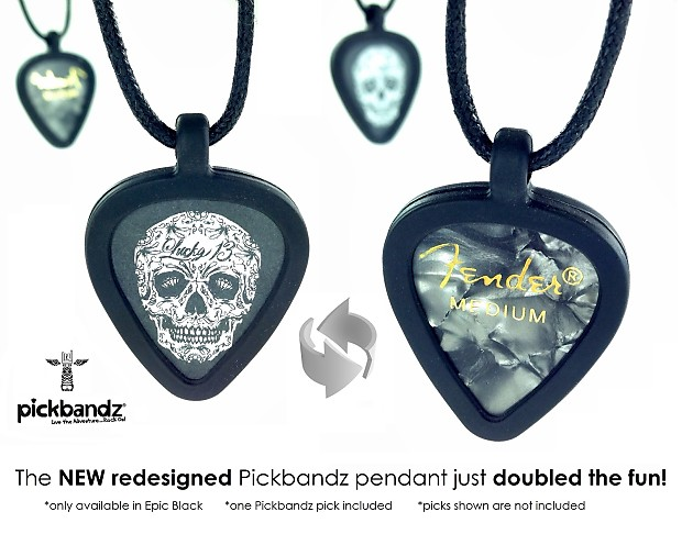 necklace black pickbandz guitar pick kiss world product