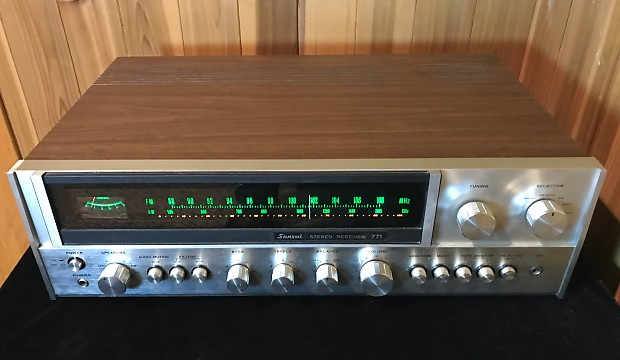 1973 Sansui Model 771 stereo receiver vintage silver face upgraded to  vintage amber glow LED lights