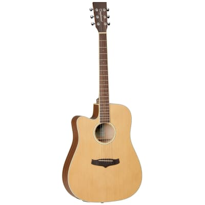 Tanglewood TW10-LH Winterleaf Solid Cedar/Mahogany Dreadnought Cutaway with Electronics Left Handed Natural Satin