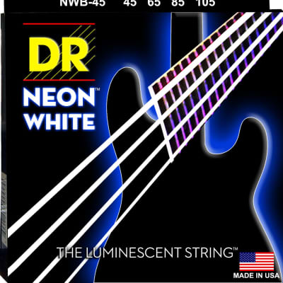 DR NWB-45 Neon White Bass Guitar Strings gauges 45-105