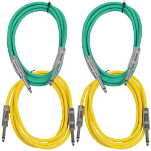 """Seismic Audio SASTSX-6-2GREEN2YELLOW 1/4"""" TS Male to 1/4"""" TS Male Patch Cables - 6' (4-Pack)"""