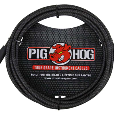 "Pig Hog PCH10BK 10' Black Woven Instrument Cable 1/4"" Guitar Bass"
