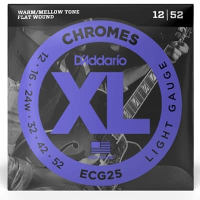 D'Addario ECG25 Chromes Flat Wound Electric Guitar Strings Light, 12-52