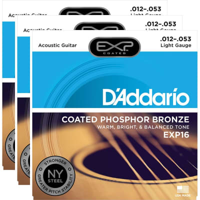 D'Addario EXP16-3D Coated Phosphor Bronze Acoustic Guitar Strings - Light (12-53) 3-Pack