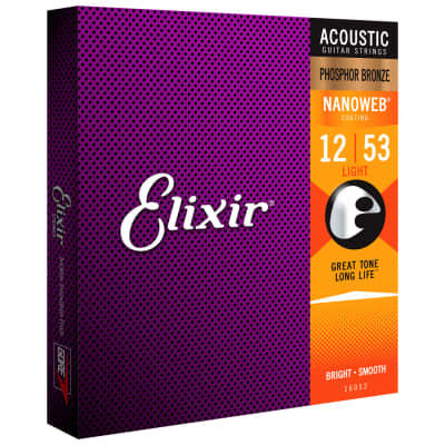 Elixir NANOWEB Phosphor Bronze Acoustic — 16052 Light .012-.053