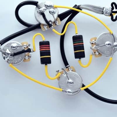 Knaggs Kenai ® Type Wiring Harness by JEL 525k Long Shaft  .015 uF Nk/ .022 Bridge Bumble Bees