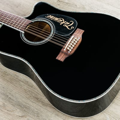 Takamine EF381 DX Acoustic Electric 12-String Guitar, Rosewood Fretboard, Black