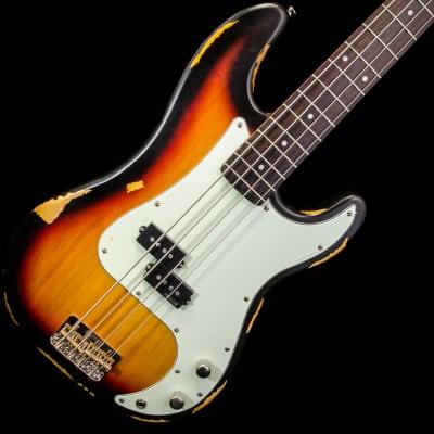 Vintage Icon V4MRSSB Precision Style Bass Guitar 2016 Distressed Sunburst