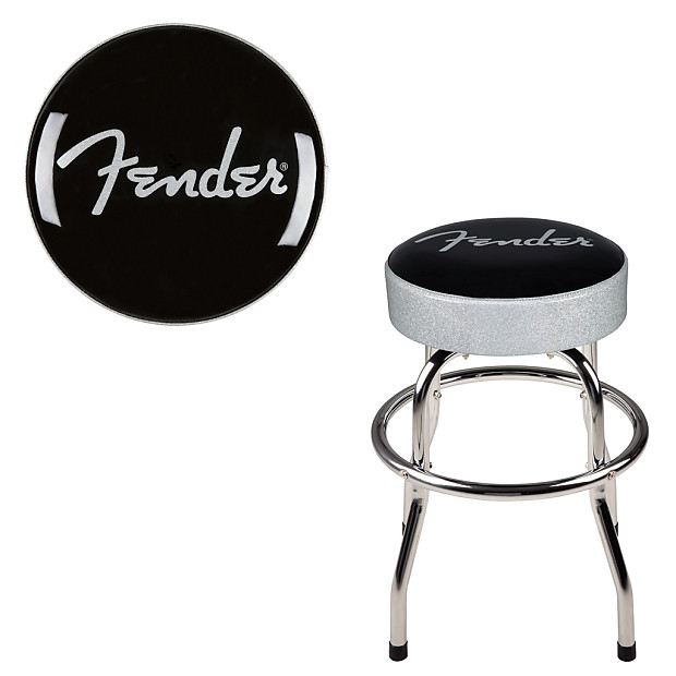 Strange Fender Bar Stool 30 Inch Swiveling Barstool W Padded Seat Top Silver Sparkle Alphanode Cool Chair Designs And Ideas Alphanodeonline