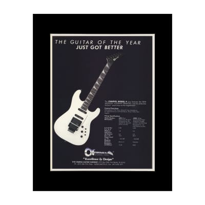 1987 Charvel Model 4 Guitars Original Magazine Ad Double Matted for 11 x 14 Frame