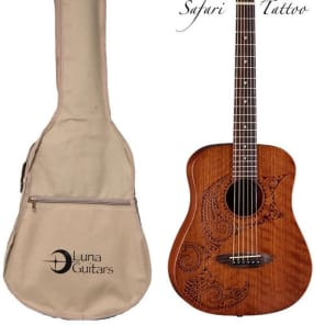 Luna Safari Series Tattoo Travel-Size Dreadnought Acoustic Guitar, SAF TATTOO for sale