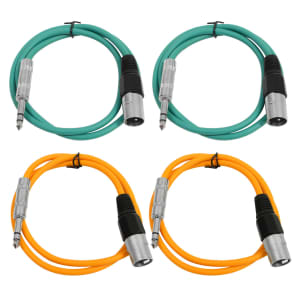 """Seismic Audio SATRXL-M3-2GREEN2ORANGE 1/4"""" TRS Male to XLR Male Patch Cables - 3' (4-Pack)"""