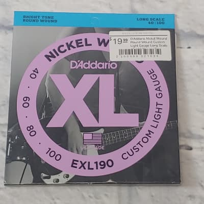 D'Addario Nickel Wound Round Wound Custom Light Gauge Long Scale 40-100 Electric Bass Strings