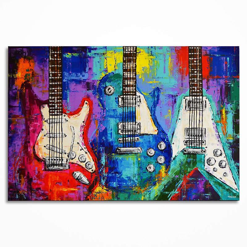 Handmade Guitar Painting On Canvas Wall Art Music Room Decor