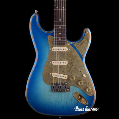 Paoletti Guitars Stratospheric Loft SSS in Ocean Fade with Brass Pickguard & Strat Pickups for sale