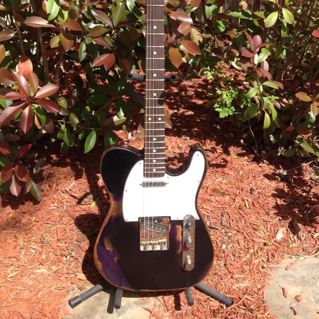 "Custom TRICKY ""Relic"" Bayou-Caster Tele  Black/Purple Nitro image"
