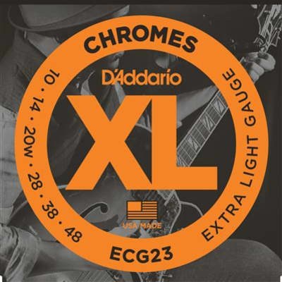 D'Addario ECG23 XL Chromes Flatwound Electric Guitar Strings 10-48