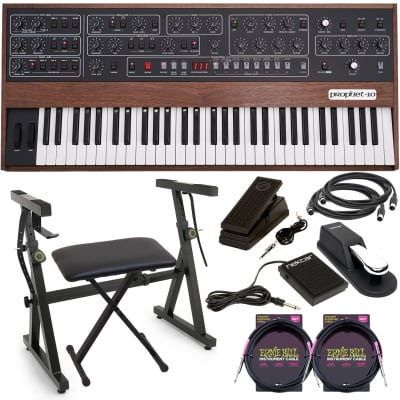 Sequential Prophet-10 61-key Analog Synthesizer, Plixio Keyboard Stand, Bench, Nektar NP-1, Sustain Pedal, Moog Music EP-3, (2) Midi Cables, (2) ErnieBall Cable Bundle