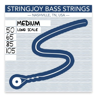 Stringjoy Medium Gauge (50-105) 4 String Long Scale Nickel Wound Bass Guitar Strings