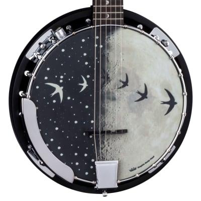Luna Moonbird 6-String Acoustic/Electric Banjo, Satin Black, BGB MOON 6E