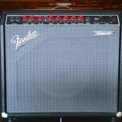 "Fender Super 60 2-Channel 60-Watt 1x12"" (Black Tolex / Silver Grill / Red Knob)Guitar Combo 1990"